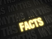 Electric Facts. Bold, glowing gold FACTS on a dark background of MYTHS Royalty Free Stock Photography