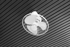 Electric fan on ceiling. Electric fan on wood ceiling Royalty Free Stock Photos