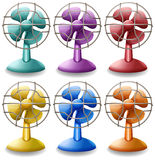 Electric fans. Six different colors of electric fans Royalty Free Stock Images