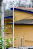 Electric fence. An electric fence and post stock photography
