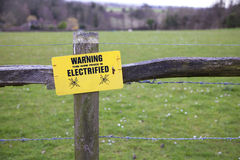 Electric fence. An electric fence around a field in the UK Royalty Free Stock Images