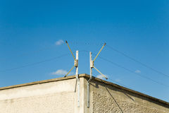 Electric Fence. High voltage electric fence on top of prison wall stock photography