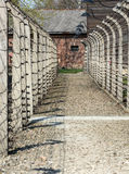 Electric fence in former Nazi concentration camp Auschwitz I, Stock Images