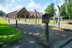 Electric fence in former Nazi concentration camp Royalty Free Stock Images