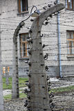 Electric fence in former Nazi concentration camp Auschwitz I Royalty Free Stock Photo