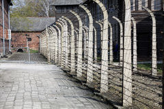 Electric fence in former Nazi concentration camp Auschwitz I Royalty Free Stock Image
