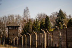 Electric fence in former Nazi concentration camp Auschwitz I, Poland Royalty Free Stock Photo