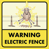 Electric fence sign. Do not touch electric fence Stock Photography