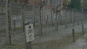 Electric Fence Sign on Nazi Camp stock video footage