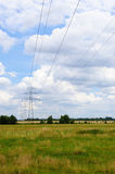 Electric field. Crossing of two electric lines near Warsaw, Poland Stock Photos