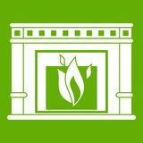 Electric fireplace icon green Stock Image