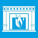 Electric fireplace icon white. Isolated on blue background vector illustration Stock Photos