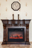 Electric fireplace in a portal Royalty Free Stock Photography