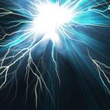 Electric flash of lightning on a dark Stock Photos