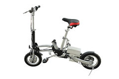 Electric folding bicycle. The image of electric folding bicycle under the white background royalty free stock photo