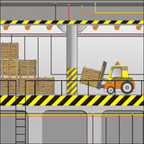 Electric forklift in an industrial zone Stock Photography