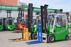Electric forklift stackers Royalty Free Stock Photography