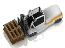 Electric Forklift transporting wooden pallets Stock Image