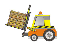 Electric forklift truck with a wooden box Stock Photo