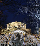 Electric fountain at night, lighted during christmas near the Bolshoi Theatre, Moscow Stock Photo