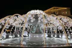 Electric fountain at night, lighted during christmas near the Bolshoi Theatre, Moscow Royalty Free Stock Photo