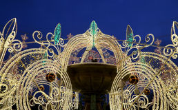 Electric fountain at night, lighted during christmas near the Bolshoi Theatre, Moscow, Russia Stock Photos