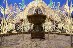 Electric fountain at night, lighted during christmas near the Bolshoi Theatre, Moscow, Russia Royalty Free Stock Image