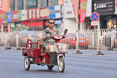 Electric freight bike in city center, Beijing, China Royalty Free Stock Photo