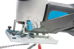 Electric fretsaw with spare parts,closeup shot Royalty Free Stock Photography