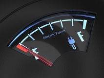 Electric fuel gauge with the needle indicating an empty battery Royalty Free Stock Photos