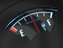 Electric fuel gauge with the needle indicating a middle battery Royalty Free Stock Images