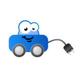Electric fueled car cartoon character Royalty Free Stock Photo