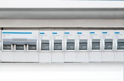 Electric fuse box front view stock photography