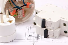 Electric fuse and plug, electrical box on construction drawing Royalty Free Stock Image