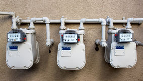 Electric and Gas Meters Stock Image