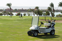 Electric golf buggy on a fairway royalty free stock photos