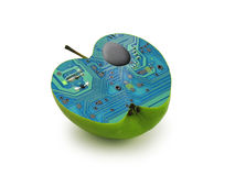 Electric green apple. Stock Images
