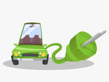 Electric green car. Giant plug Stock Photography