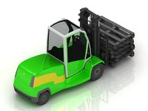Electric green Forklift  on a white Stock Photo