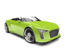 Electric green modern cabriolet super sports car - high angle shot Royalty Free Stock Photos