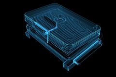 Electric Grill 3D X-Ray Blue Transparent Stock Image