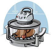 Electric grill with roasted chicken royalty free illustration