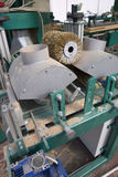 Electric grinder machine. Wood factory. Wood Shavings, Grinding Stock Image