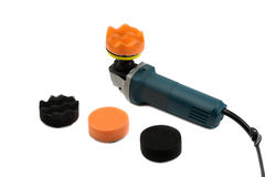 Electric grinder set of sponges for polishing the car Stock Image