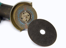 Electric grinding wheel. And the drive to replace the old Stock Image