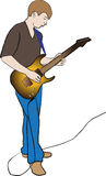 Electric guitar. On white background, lad keep electric guitar in hand royalty free illustration