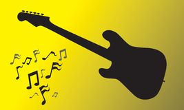 Electric Guitar. Silhouette with music notes.  INCLUDES CLIPPING PATHS Royalty Free Stock Image