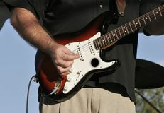 Electric Guitar. Guitar player at a Music Festival Royalty Free Stock Images