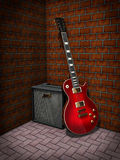 Electric guitar. And guitar amplifier. Made in 3d Royalty Free Stock Image