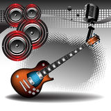 Electric guitar. Abstract colorful illustration with electric guitar, loudspeakers and microphone. Concert theme Royalty Free Illustration